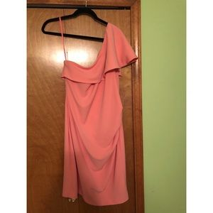 Peach one shoulder dress